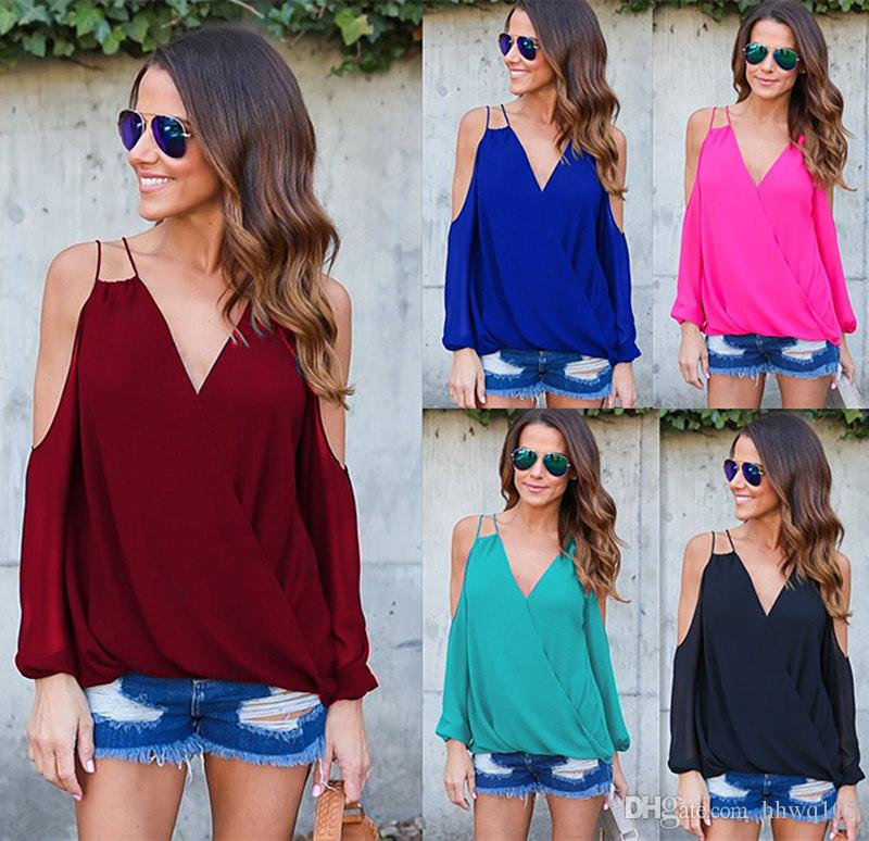 7692362f0d77a 2019 New Cold Shoulder Chiffon Blouse Cross Back Long Sleeve Loose Casual  Shirt Women Plus Size Blouses Tops Red Black Blue DYG1102 From Hhwq105