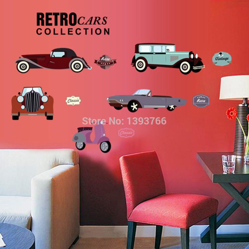 Cartoon Retro Cars Wall Stickers For Kids Rooms Child Room ...