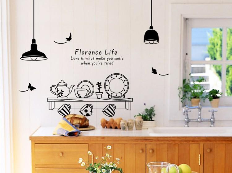 Acquista 60 * 90cm Firenze Wall Stickers Vita Tè Cucina Tazza ...
