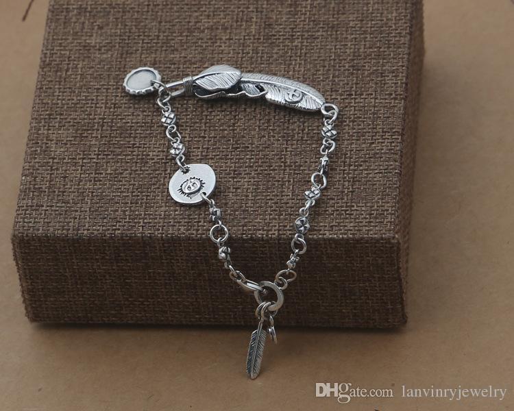 Brand new 925 charme pulseira de prata-charme carimbado charme e charme pena enorme com menor estilo pena com pulseira cadeia de ligação