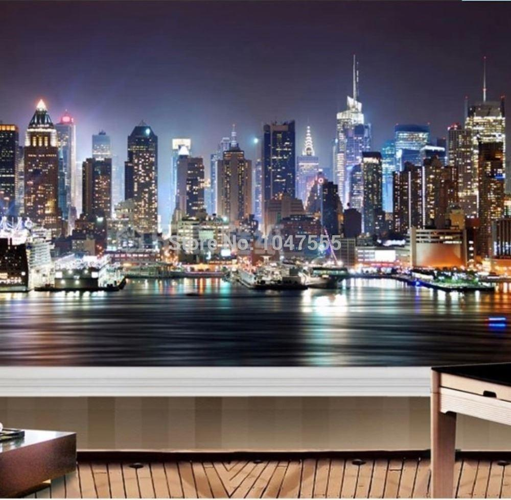 manhattan 3d papel de paede new york city large mural wallpaper