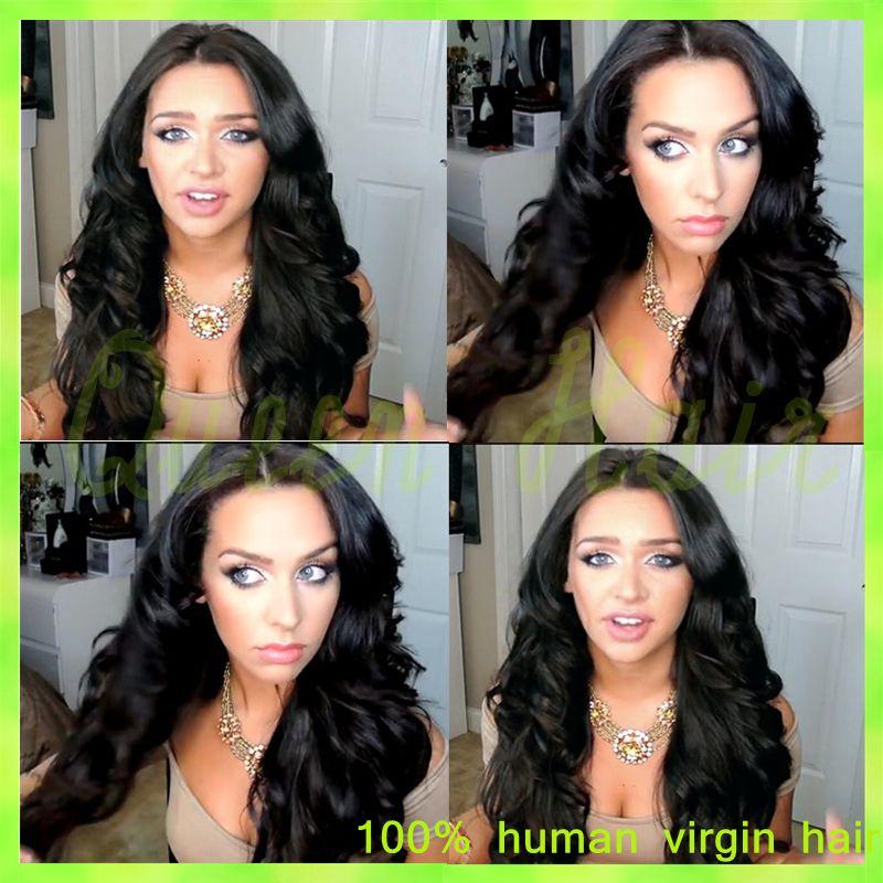 Full lace human hair wigs Brazilian virgin human hair lace front wig 130% natural black color deep wave brazilian virgin hair