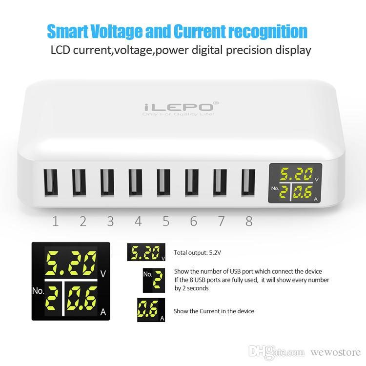 iLEPO Smart USB Charger With 8 Port US EU UK USB Plug Charger LCD Display For iPhone X 7 Plus Portable Cell Phone Charger With Retail Box