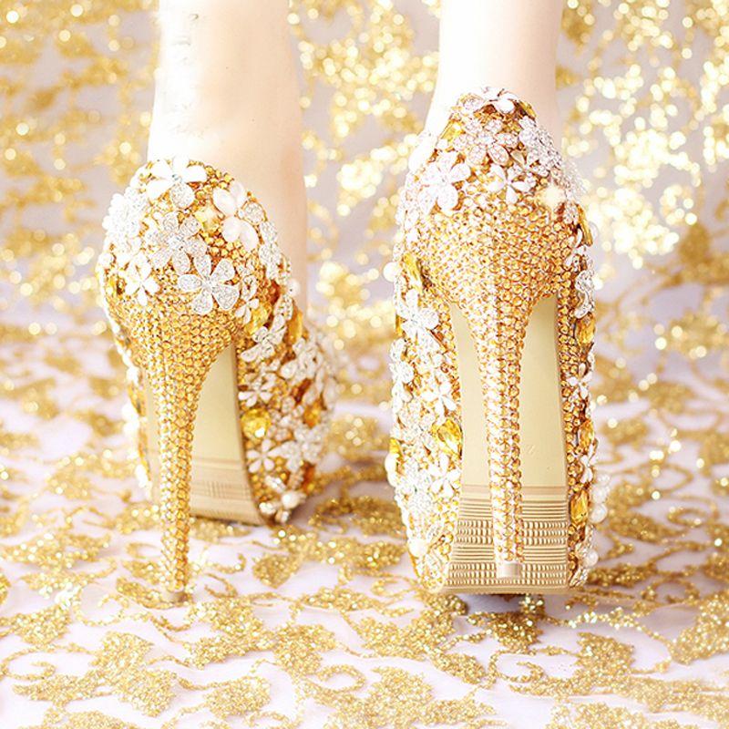 Мода Удобная Золотая Свадьба Женская Обувь Платформа Высокие Каблуки Горный Хрусталь Свадебная Обувь Ручной Работы Натуральная Кожа