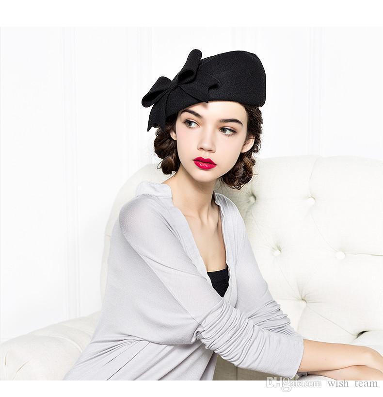 97b263f2c3d ... Brand Quality Classic Red Black Solid Bowler Beret Caps Wool Felt  Winter Women Hat Elegant Formal ...