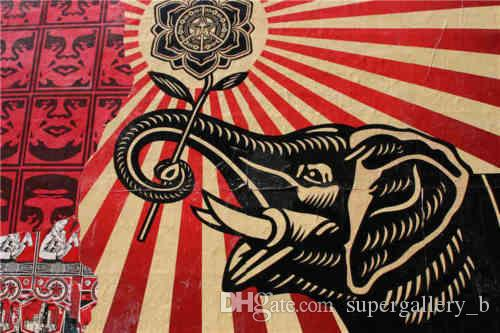 2018 Framed Shepard Fairey Obey Handpainted Abstract Art Oil ...