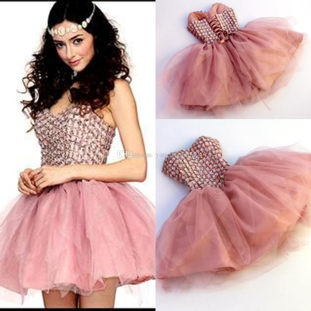 Dusty Pink Short Homecoming Dresses Sweetheart Crystal Tulle Custom ...