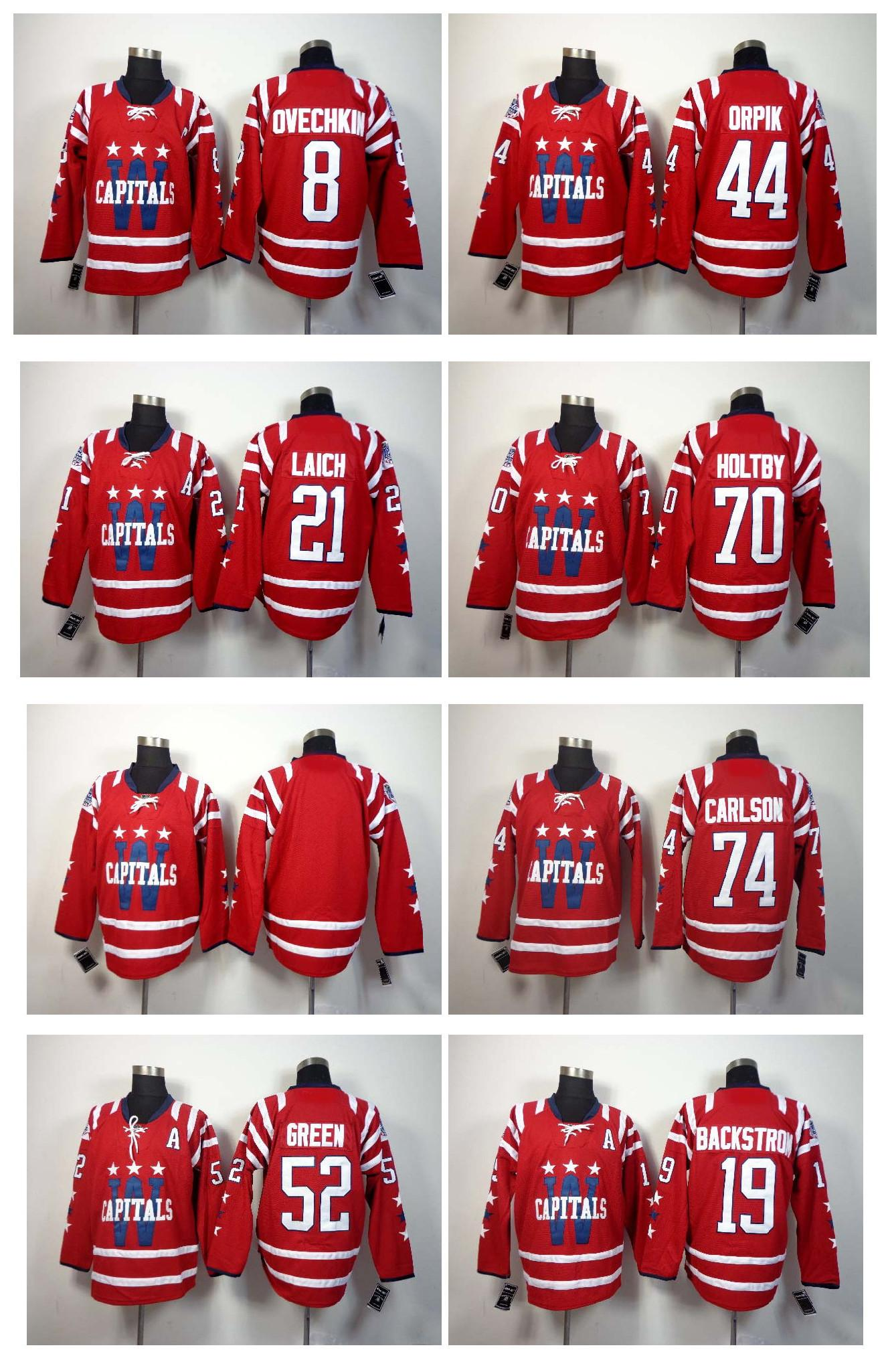 2df1f8bcd5b ... White Winter Classic Washington Capitals Ice Hockey Jerseys 8 Alex  Ovechkin 19 Nicklas Backstrom 44 Brooks Orpik ...