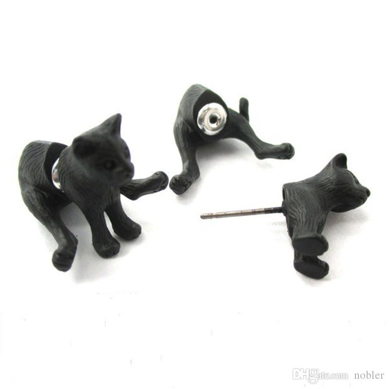 New Fashion Bronze Black Animal 3D Sitting Kitty Cat Two Part Front and Back Retro Stud Earring for Women NY-049
