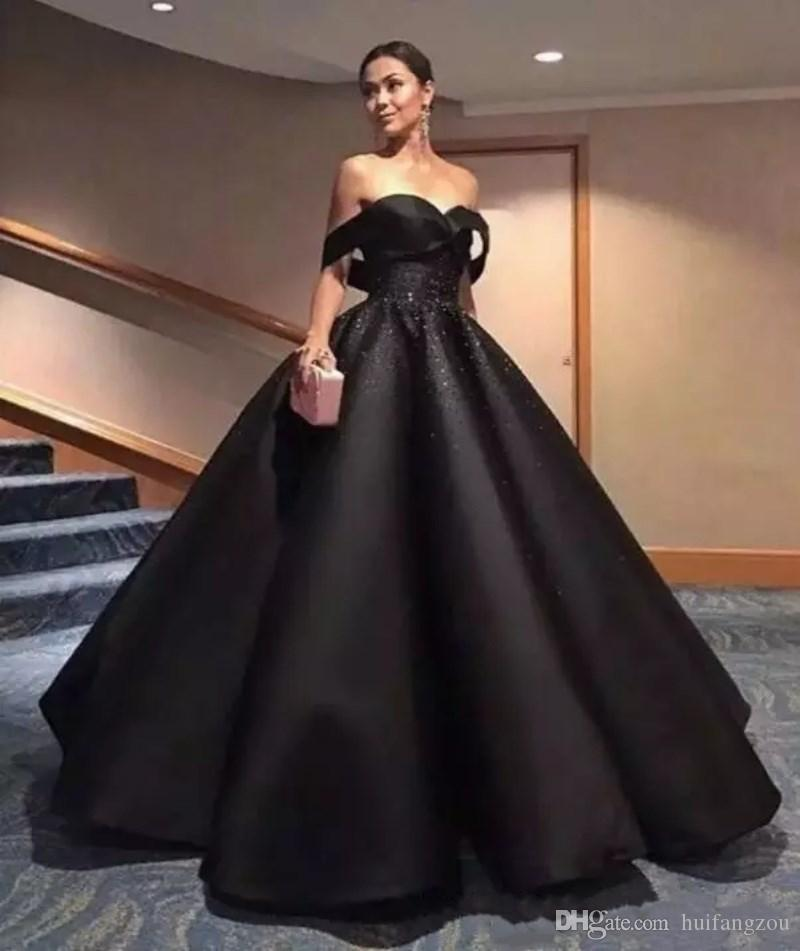 Elegant Black Arabic Prom Dresses Off Shoulder Beads Sequins