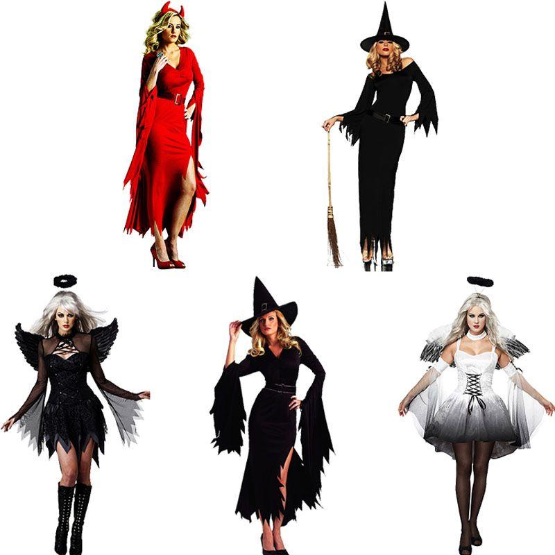 Grosshandel Hexe Kostum Teufel Engel Kleidung Erwachsene Halloween