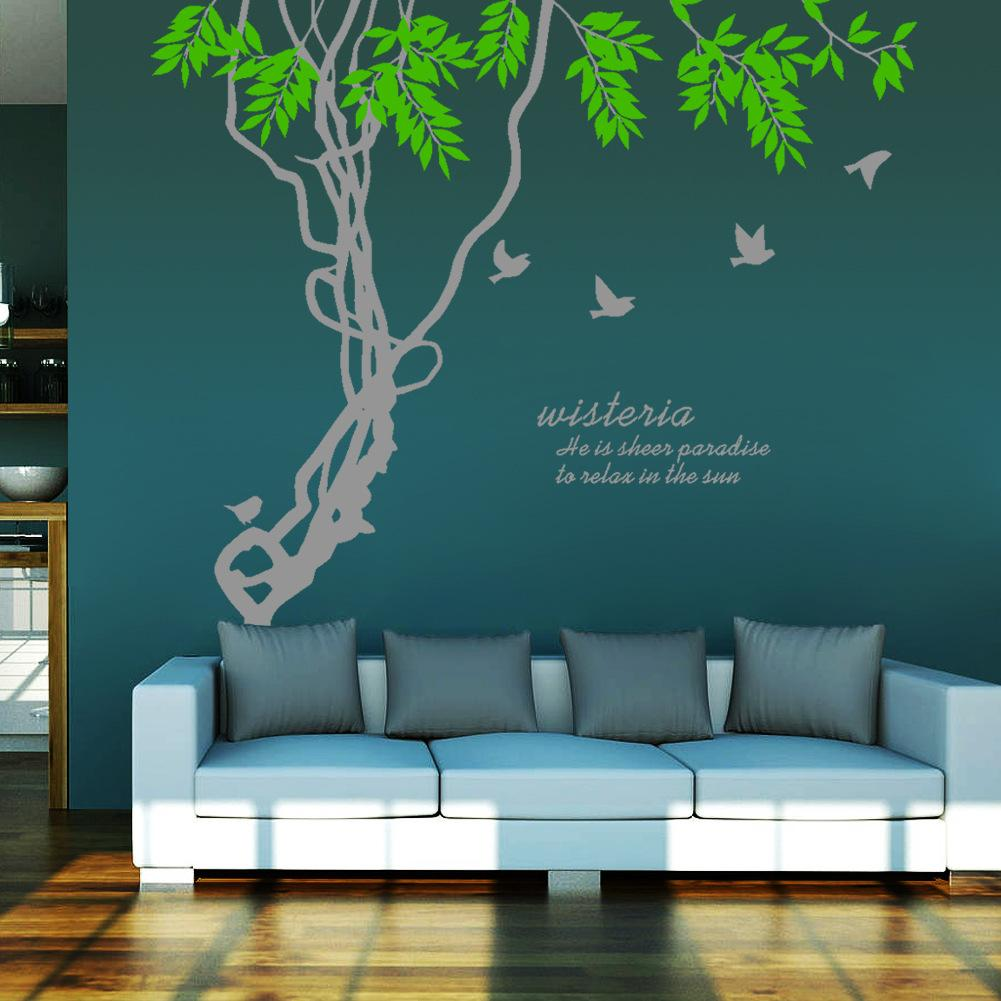 ivy leaves tree branches birds wall art mural decor sticker wisteria wall quote decal poster. Black Bedroom Furniture Sets. Home Design Ideas