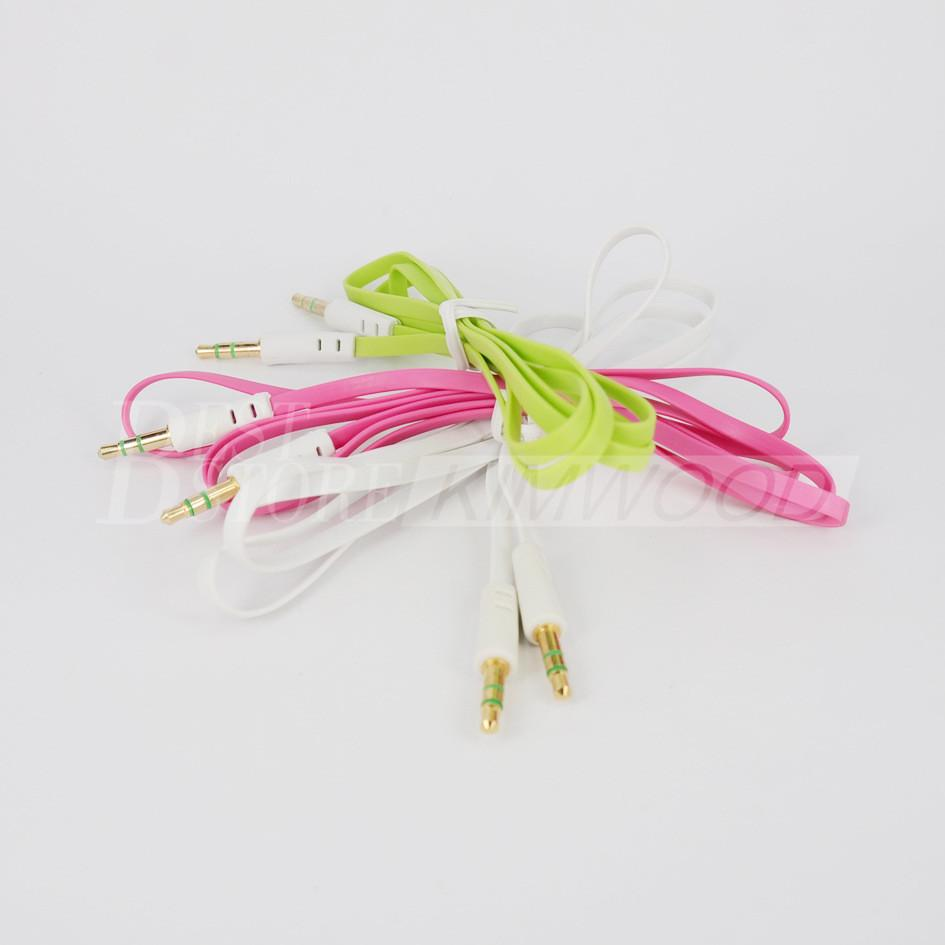 DHL Free Colorful Flat Noodle 3.5mm Aux Aux Aux Cable Jack Maschio a Maschio Plug Cavo stereo iPhone