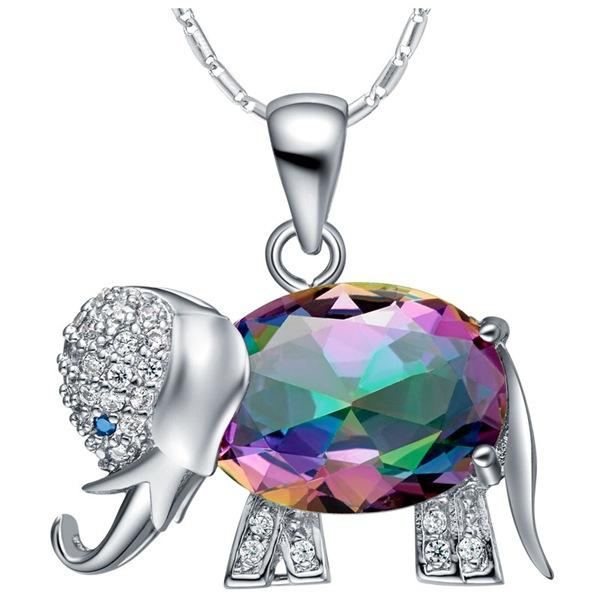 Top quality 925 sterling silver plated ring necklace pendant earrings jewelry set Hot full crystal colorful stone elephant jewelry sets