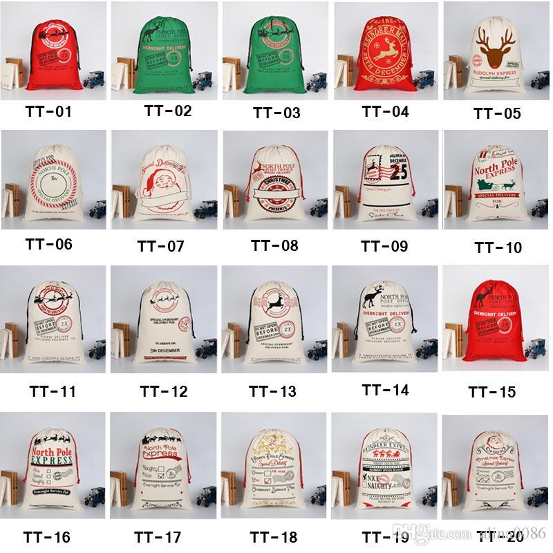 2020 Bolsas de regalo de Navidad Bolsa de lona pesada y orgánica grande Bolsa de lazo de saco de Santa con renos Bolsas de saco de Papá Noel para niños