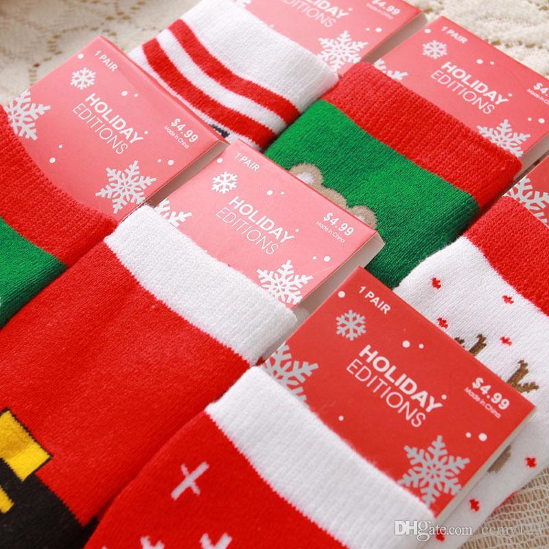 1-3 anos Algodão Primavera velho Outono-Inverno do bebê Meninas Meninos Crianças Socks Crianças listrado Terry Snowflake Elk Urso de Santa Claus