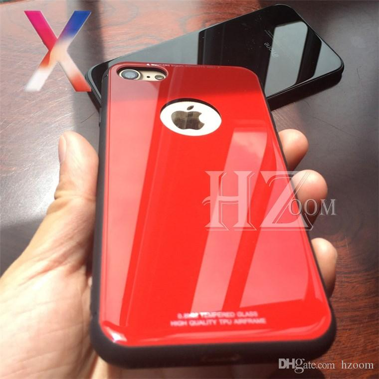 pretty nice 980d4 247d9 2018 New For iPhone X 8 Plus Ultra Thin Tempered Glass Back Phone Cases  Cover Gel Bumper Original Color Shockproof For iPhone 6 6s 7 plus