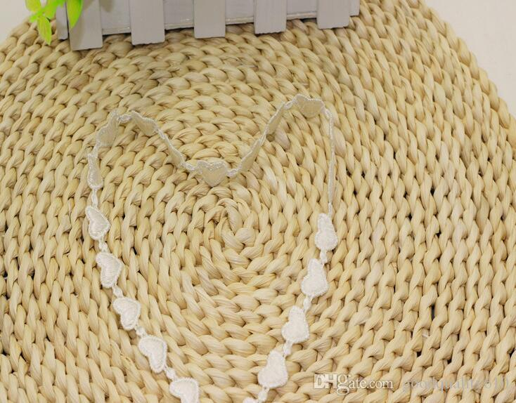 "30 Yard Width 0.6"" White Heart Shape Lace Cotton Fabric Trim For DIY Bridal wedding Doll Cap"