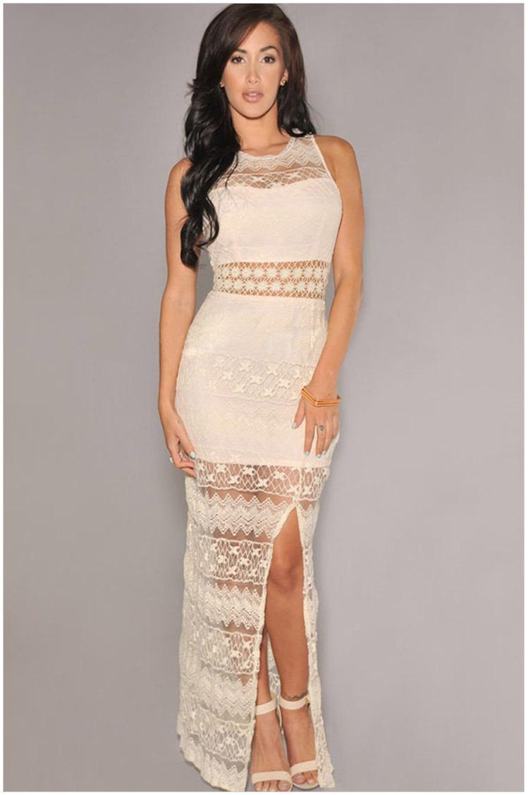 2016 New Cream Crochet Accent Lace Maxi Dress One Size Women Casual ...