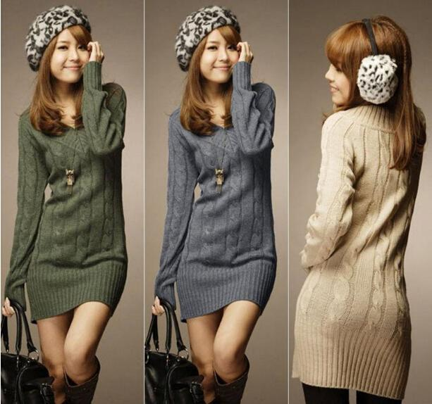 NEW WOMENS LONG SLEEVE WARM WINTER KNIT SLIM PLUS SIZE TUNIC ...
