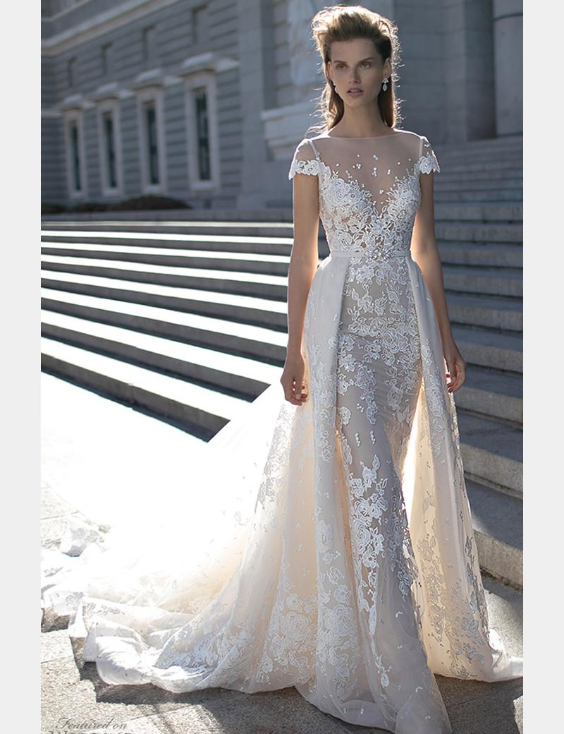 2016 berta wedding dresses detachable skirt cap sleeves sexy lace 2016 berta wedding dresses detachable skirt cap sleeves sexy lace see through bridal gowns open back beaded floral sheath dress one shoulder wedding dresses ombrellifo Choice Image