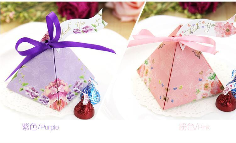 European style romantic purple pink Pearl paper triangle pyramid Wedding box Candy Box gift boxs wedding baby birthday favour boxes THZ150