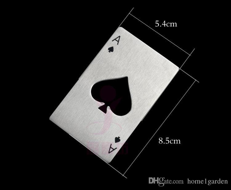Edelstahl Bier Flaschenöffner Spaten Ein Poker Karte Form Bar Tool Brieftasche Einfach Silber Farbe Tragen