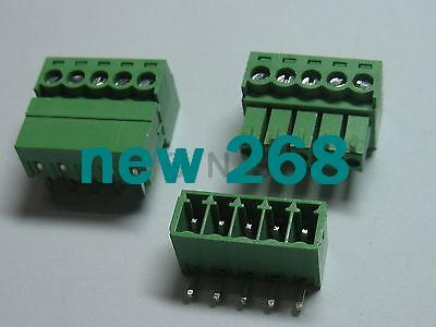 150 pcs Screw Terminal Block Connector 3 5mm Angle 5 pin Green Pluggable  Type
