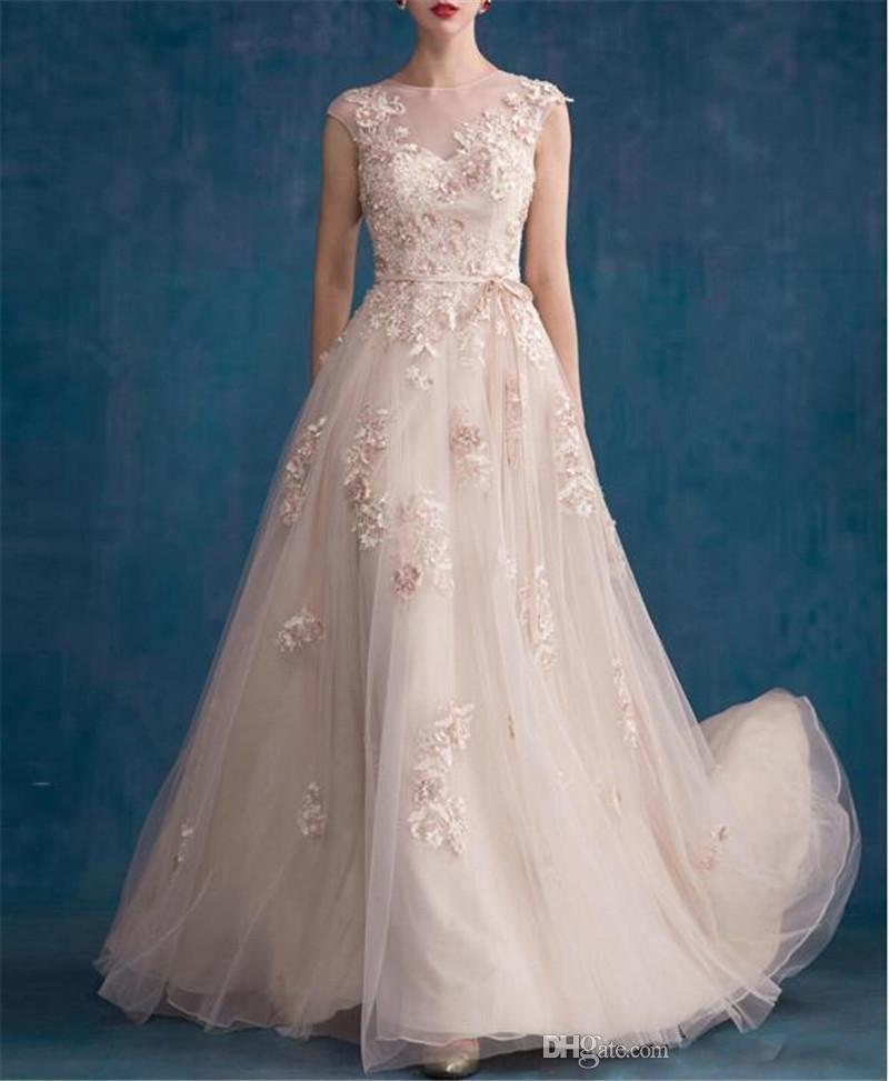 Jewel Covered Button Sweep Train A Line Bridal Gowns With Applique Crystals Beads Pearls Elie Saab 2018 New Style Tulle Wedding Dresses
