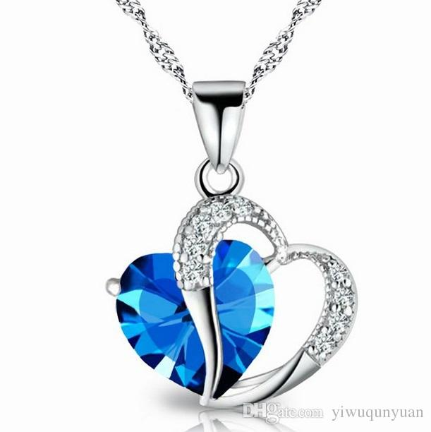 Wholesale romantic multicolor crystal love heart pendants cheap wholesale romantic multicolor crystal love heart pendants cheap necklaces for women girl jewelry wholesale diamond necklaces pendants for necklace from mozeypictures Images