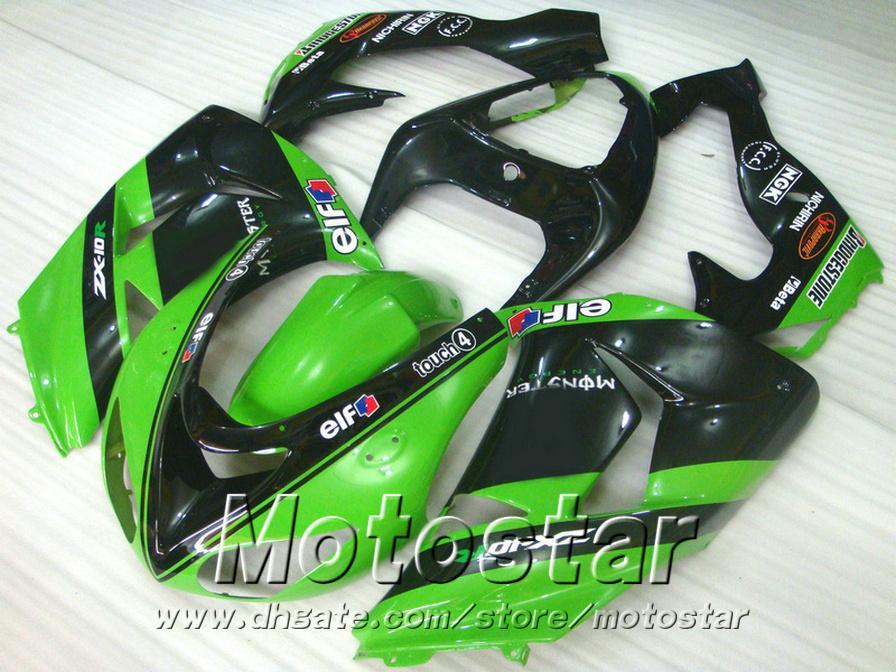 7 Hediyeler kawasaki ZX10R kaplama kiti 2006 için enjeksiyon kalıplama 2006 yeşil siyah kaportalar 06 07 ninja ZX 10R DH1