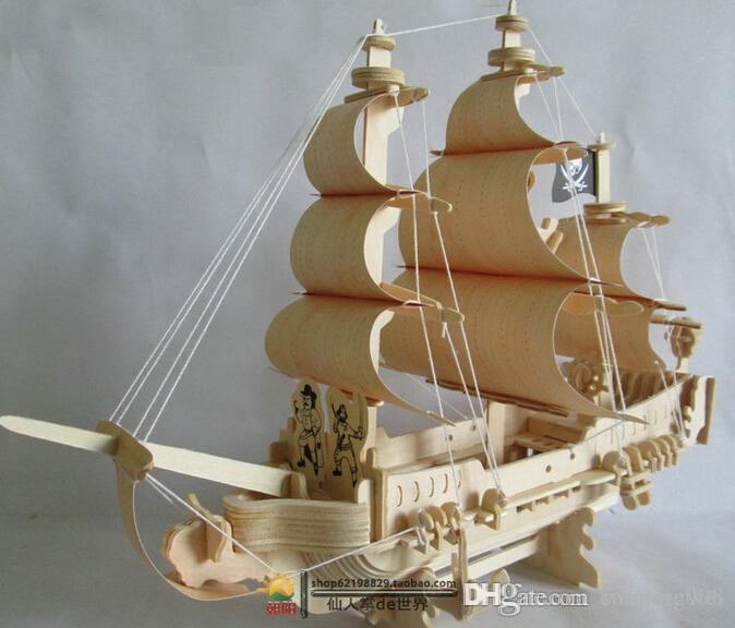 Wholesale New Fancy 3d Model Ship Wooden Puzzle Diy Woodcraft Construction Kit Handmade Pirate Ship