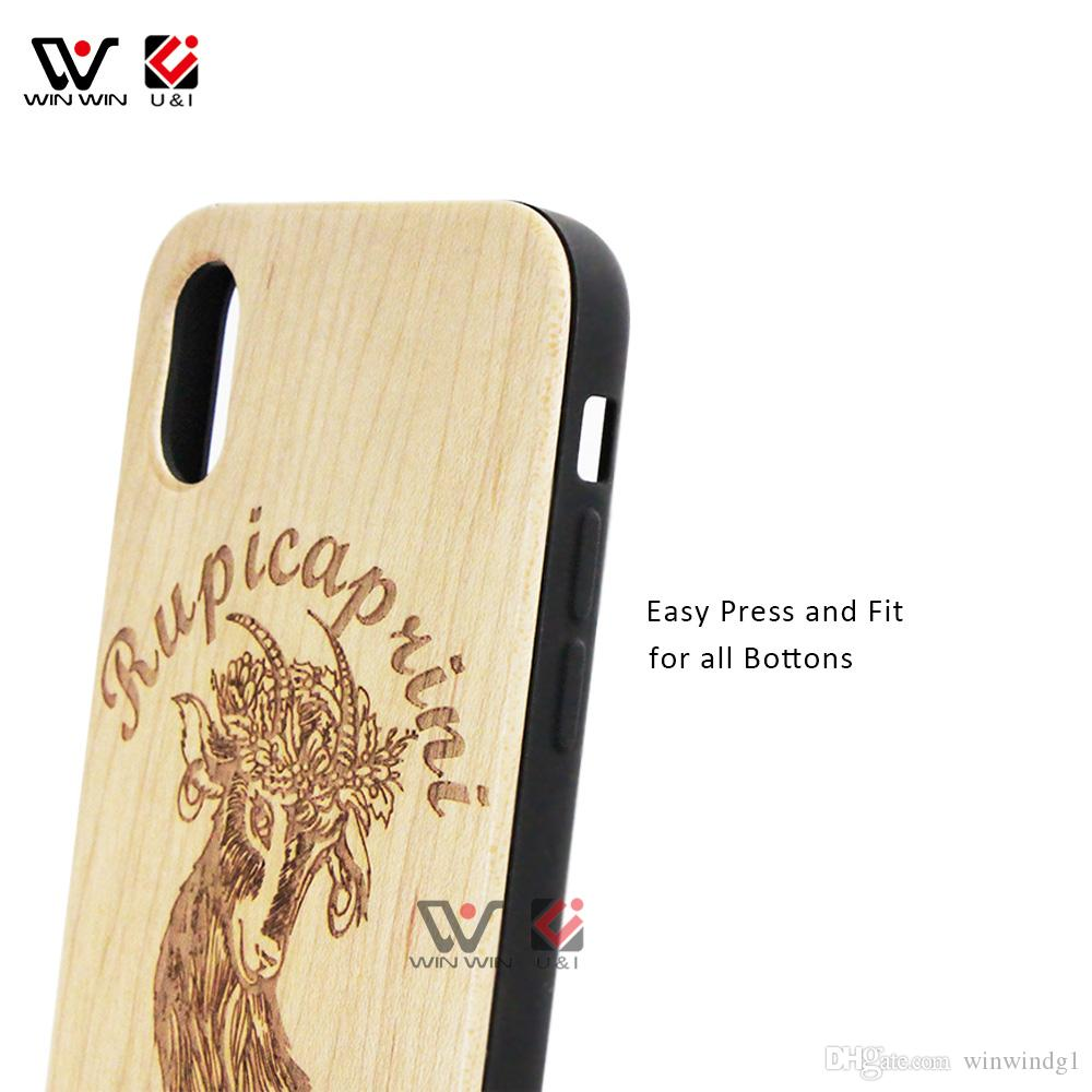 Bamboo material full protection Wood Cell Phone Case for iPhone x Mobile Phones Cover Round Body TPU Shockproof Shell for i Phone 10