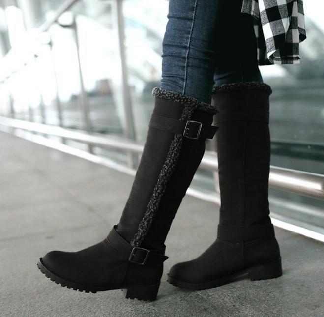 Plus Size 34 to 40 41 42 43 Fashion Women Designer Fur Knee High Boots Winter Shoes Khaki Black Tan Come With Box