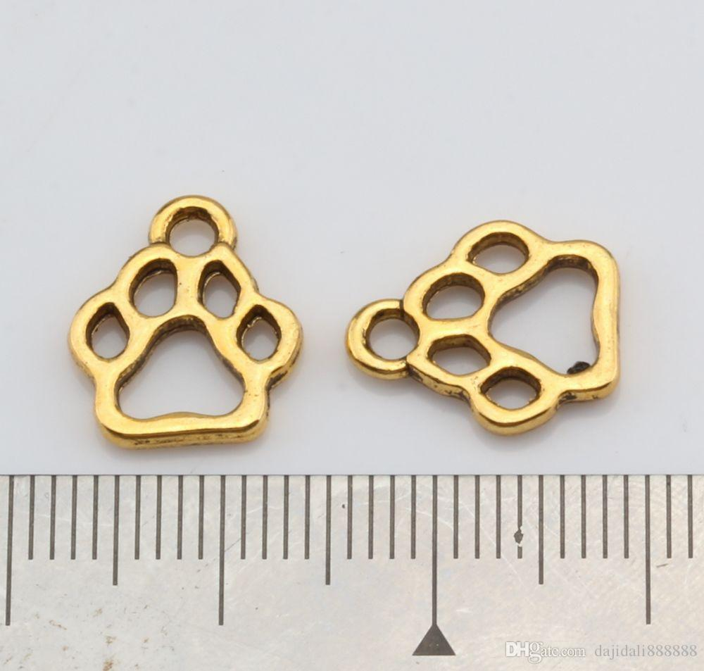 Hot ! Antique Gold Alloy Hollow Paw Print Charm Pendant 11x13mm DIY Jewelry