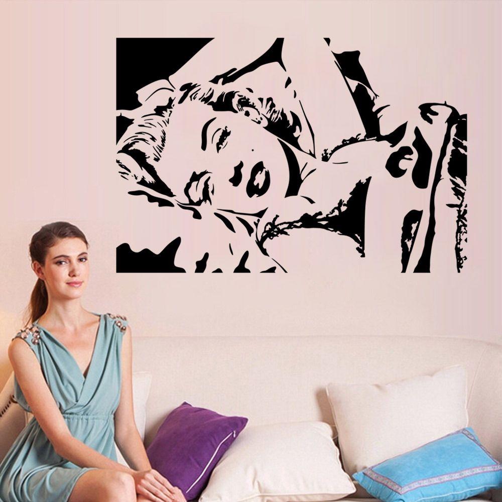 Sleeping Pose Wall Art Mural Decor Sexy Monroe Chambre à coucher Wall Decal Poster Marilyn Monroe Sticker