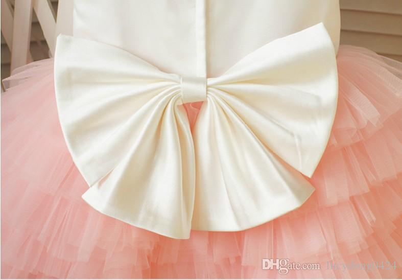 Prawdziwa próbka Custom Made Flower Girl Sukienki Tanie Mała ładna Linia Klejnot Klejnot Tulle Dress Sukienka