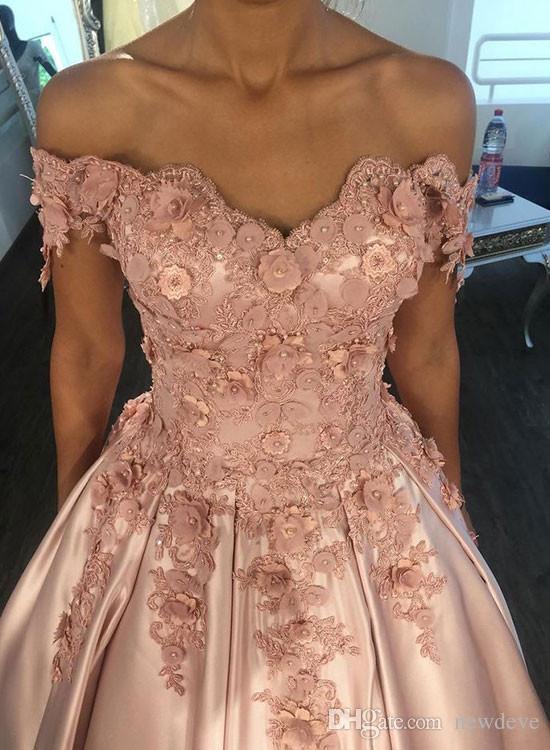Vestidos de baile cor de rosa com flores 3d fora do ombro Vestido de baile cor de rosa vestidos de noite sem alças