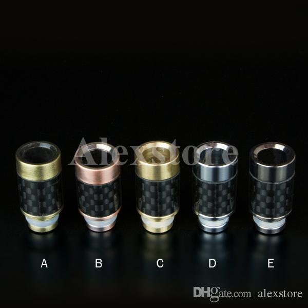 New Delrin & Carbon Fiber drip tip 510 Ego drip tips mouthpiece adapter Flat Wide Bore driptip for rba rda atomizer vapor e cigarette mod