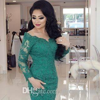 2016 New Arabic Turquoise Mermaid Evening Dresses Long Sleeves V Neck Sheer Lace Appliques Chapel Train Prom Evening Wedding Bridal Gowns