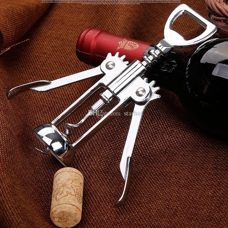 Abridor de botellas de vino de acero inoxidable Mango Presión Sacacorchos Abridor de vino rojo Cocina Accesorio Barra de herramientas Ala Abridor de sacacorchos WX9-117