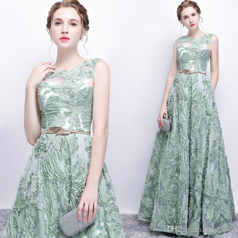 2828a3712 2017 Sage Lace Arabic Evening Dresses Crew A Line Floor Length Prom ...