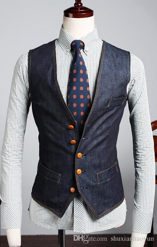 the new mens denim vest brand jeans vest men cowboy