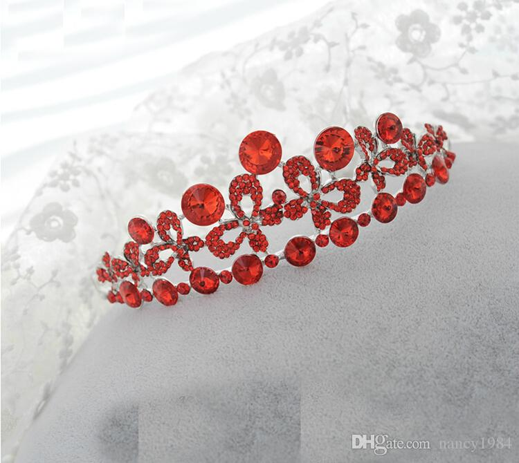 Red Crystal Rhinestone Wedding Bridal Party Tiara Earring Necklace Jewelry Set Lady's Party Wedding Accessory