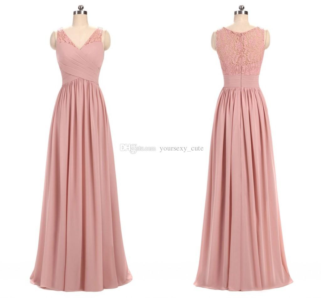 fc574a6a526 Dusty Rose Pink Chiffon Lace Bridesmaid Dresses V Neck Pleated Ruffles Floor  Length Long Bridesmaid Gowns Wedding Party Dresses Navy Blue Bridesmaids ...