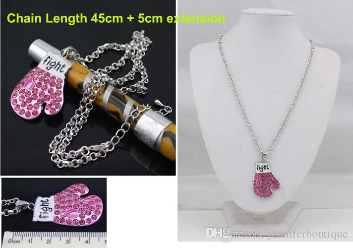 Breast Cancer Awareness Pink Ribbon Jewelry Pink Ribbon Fighting Box Gloves Pendant Necklaces