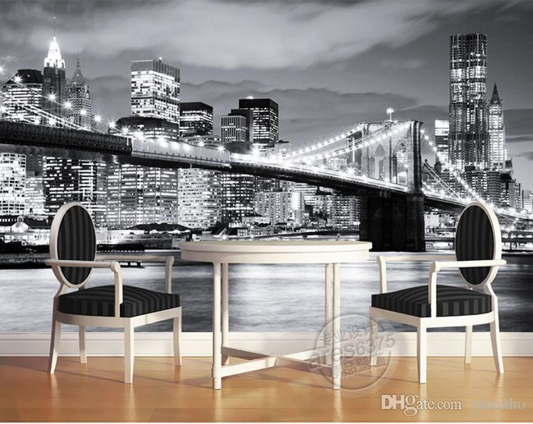 Fashion city photo wallpaper brooklyn bridge new york for Brooklyn bridge black and white wall mural