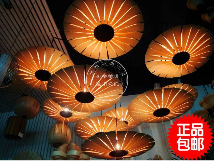 Discount Wood Umbrella Veneer Chandelier Southeast Asian Chinese
