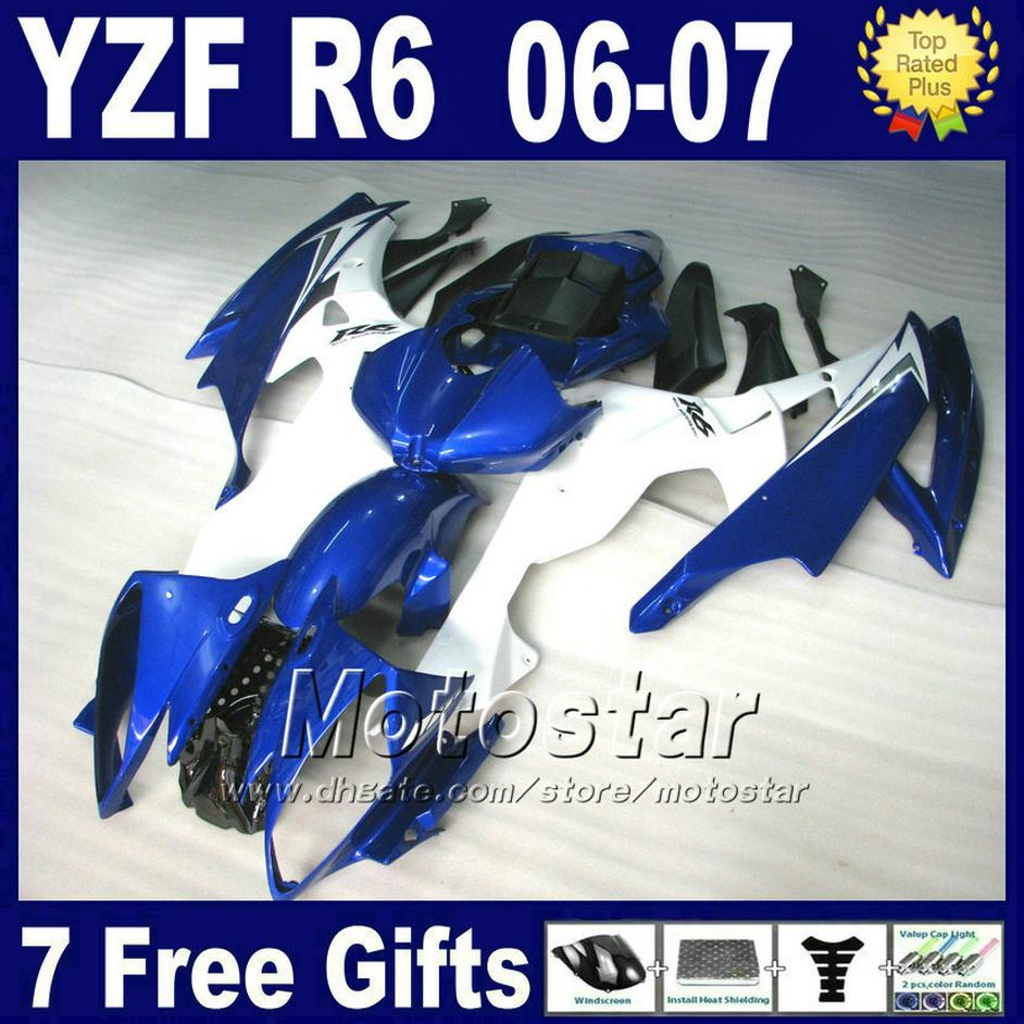 7Gifts 100% Injection molding fairing kits for YAMAHA R6 2006 2007 blue yzf r6 fairings parts 06 07 OEM factory FGRG