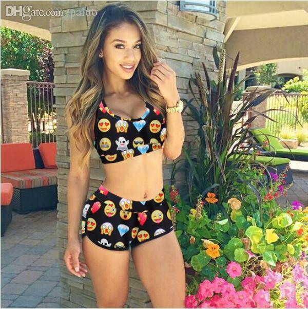 8f2c96f4fcaa9 2019 Wholesale Raisevern Summer Women Swimsuit Beach Emoji Swimwear Summer  Style Fashion Bikini Set Women Emoji Swimsuit Sexy Bathing Suit From Paluo